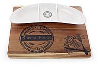 Фарфоровое сервировочное блюдо для еды на деревянной доске, 34см
