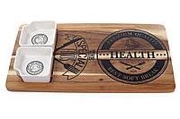 Сервировочный набор для подачи еды из двух пиал 100мл на деревянной доске, 38см