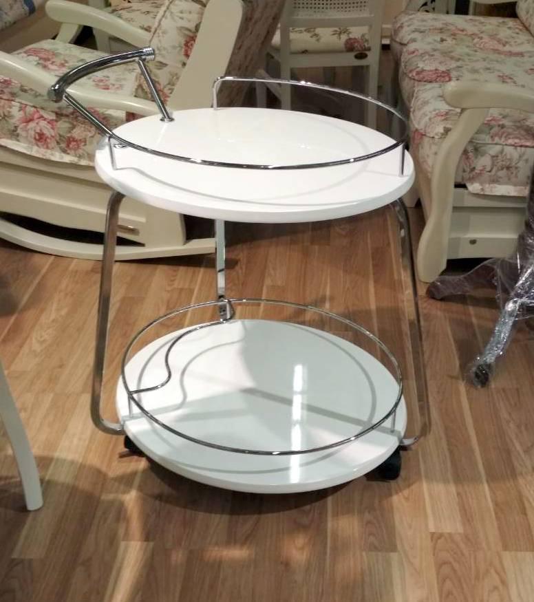 Сервировочный столик Флоренция V323 Exm, металл + белый МДФ