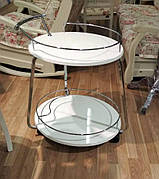 Сервірувальний столик V323 Exm, метал + білий МДФ