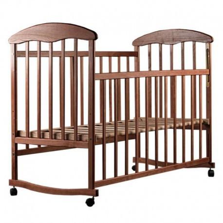 """Детская кроватка """"Наталка"""", дерево ольха, колёса, качалки, опускающийся бортик, темная"""