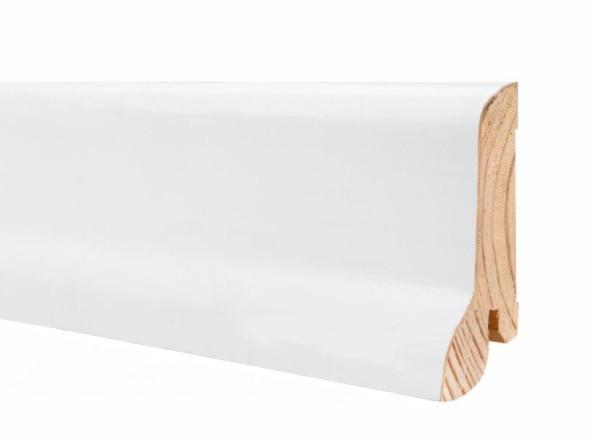 Плинтус белый для пола деревянный 60*21*2200мм, Шпонированный шелковисто-матовый