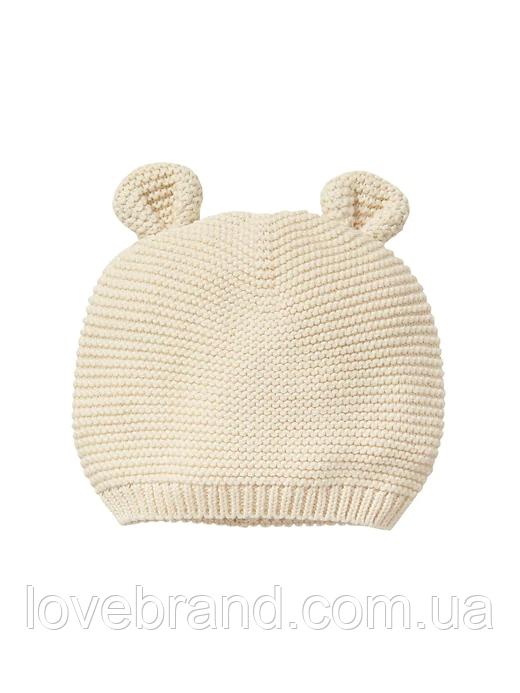 Вязанная шапочка GAP с ушками для малыша бежевого цвета 6-12 мес/46 см