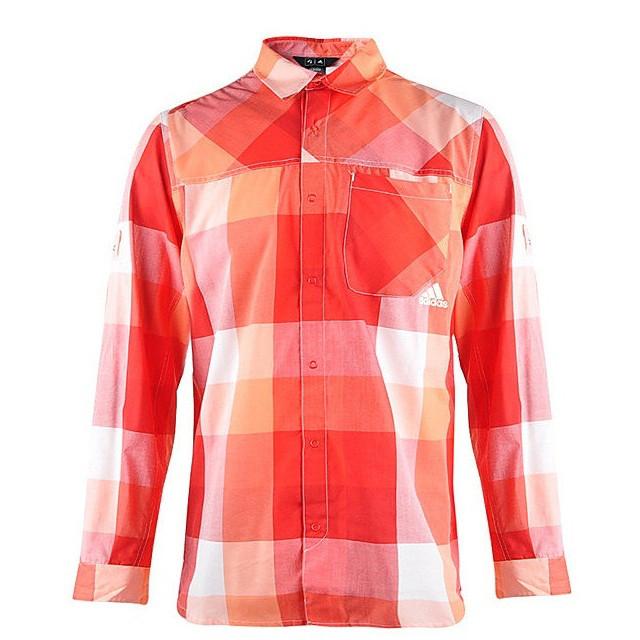 Рубашка мужская adidas ED Check Z19632 (красная, хлопок, на выпуск, длинный рукав, заклепки, логотип адидас)