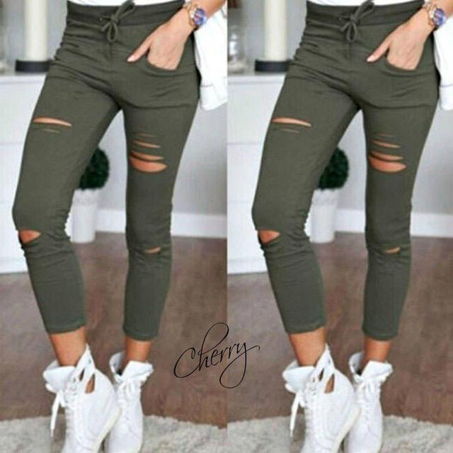 Летние брюки с прорезями Хаки