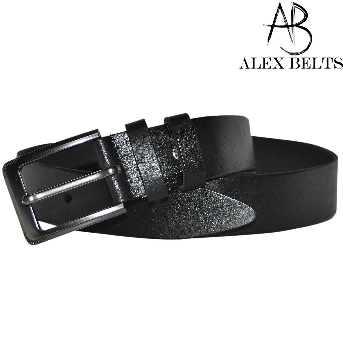 Ремень мужской брючный (черный) кожаный гладкий 35 мм - купить оптом в Одессе