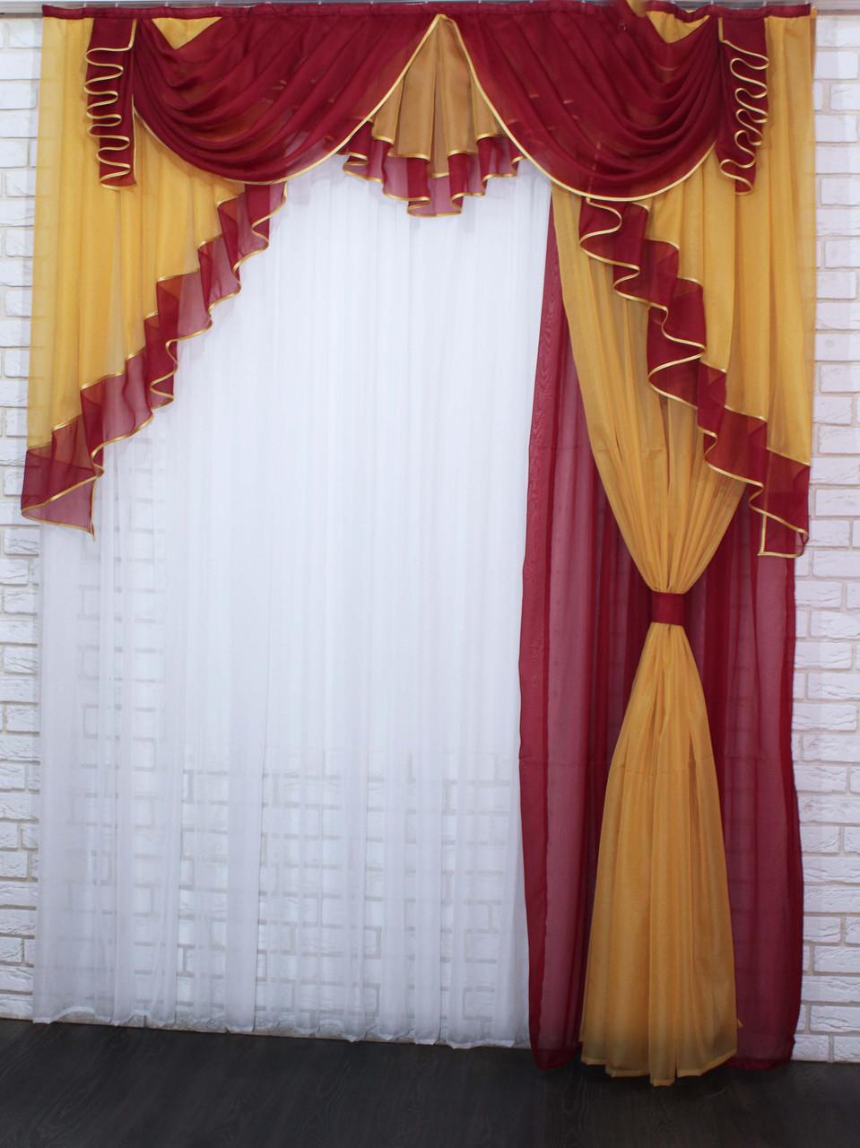 Ламбрекен с шторкой на карниз 2м. №107 Цвет бордовый с янтарным