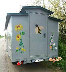 Павильоны для пчел с двухосным прицепом