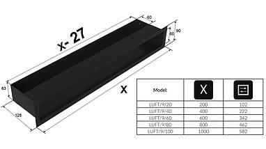 Вентиляционная решетка для камина KRATKI люфт 9х100 см графитовая, фото 2
