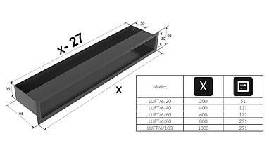 Вентиляционная решетка для камина KRATKI люфт 6х60 см шлифованная, фото 3