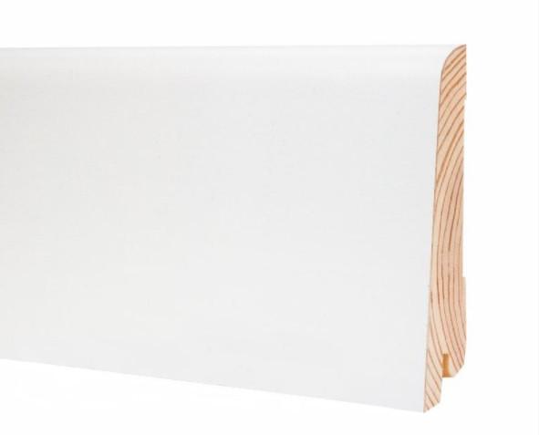Плінтус підлоговий білий дерев'яний 80*19*2200 мм. Шпонований шовковисто-матовий