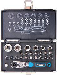 """Набор бит и головок торцевых ,1/4"""", магнитный адаптер, сталь S2 пластиковый кейс, 26 предм.//GROSS"""