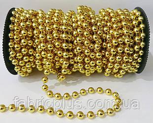 Новогодние  гирлянды-бусы  8 мм, золото