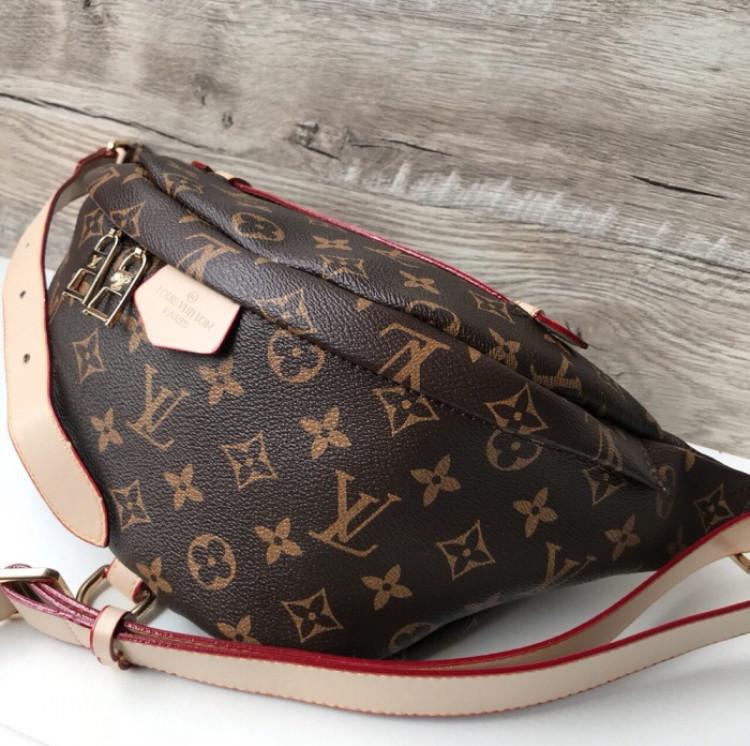 c018edd4841b Сумка на пояс бананка брендовая Louis Vuitton коричневая мужская женская  копия высокого качества, ...