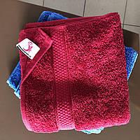 Махровое полотенце с полоской для рук и лица Бордо 50х90 см Узбекистан