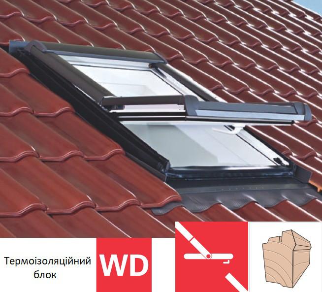 Мансардне вікно Roto Designo R45 (дерев`яне)(з термоізоляційним блоком WD) 65х140 см
