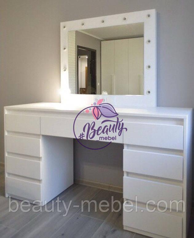 Большой гримерный стол, стол для макияжа с зеркалом и лампами