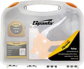 Набор: степлер мебельный регулируемый, скобы 500 шт, рулетка 2м., тип скобы 53, 6-14 мм// Sparta