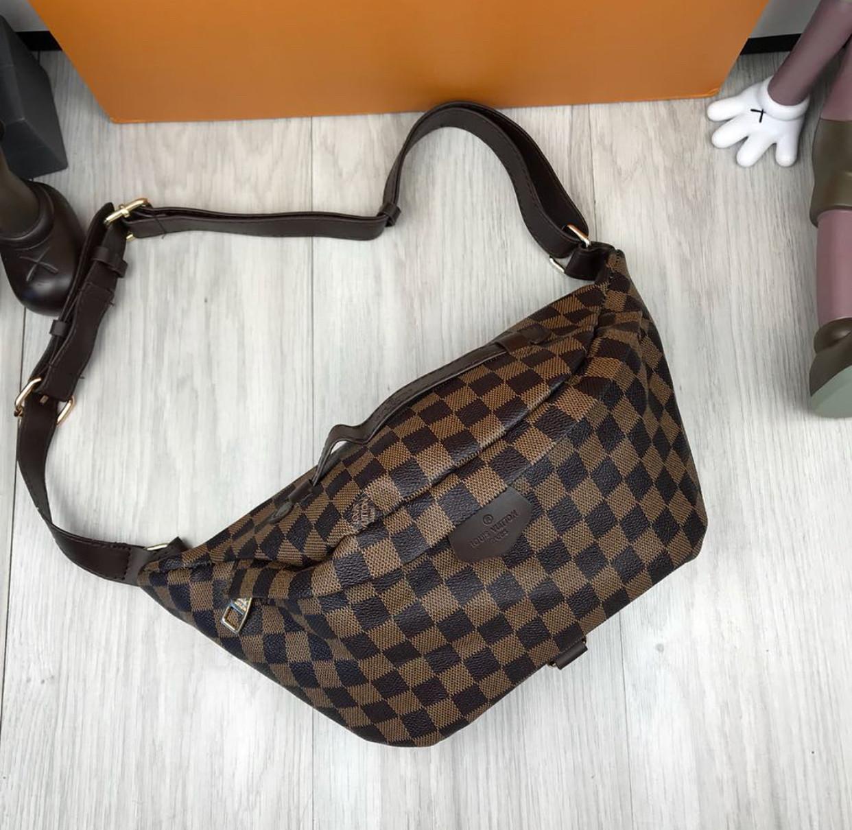 5292022166d1 Сумка на пояс бананка брендовая Louis Vuitton коричневая мужская женская  копия высокого качества - AMARKET -