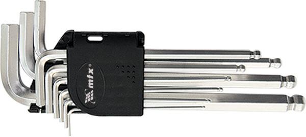 Набор ключей имбусовых HEX, 1,5–10 мм, CrV, 9 шт., удлиненные, сатин., с шаром// MTX