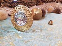 Латуневый Классический Подхват для штор с камнем REC116 золото, фото 1