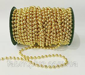 Новогодние  гирлянды-бусы  6 мм, золото