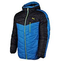 Куртка спортивная мужская Puma Active T 833824 10 (синяя с черным, зимняя, водонепроницаемая, логотип пума)