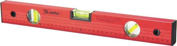 Уровень алюминиевый, 600 мм, 3 глазка, красный, линейка// MTX