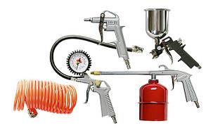 Набор пневмоинструмента, 5 предметов, быстросъемное соед., краскорасп. с нижним бачком// MTX