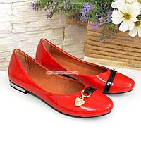 """Туфли женские лаковые красного цвета  на низком ходу. ТМ """"Maestro"""", фото 1"""