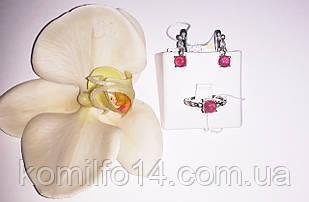 Серебряные серьги и кольцо с натуральным рубином (кабошон)