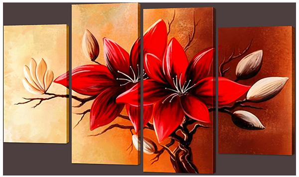 """Модульная картина """"Цветы в красных тонах"""""""