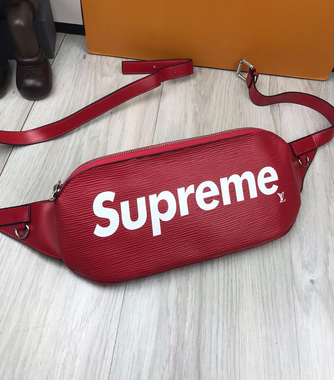 1037c0432dbd Сумка на пояс бананка брендовая LV Supreme красная мужская женская копия  высокого качества - AMARKET -