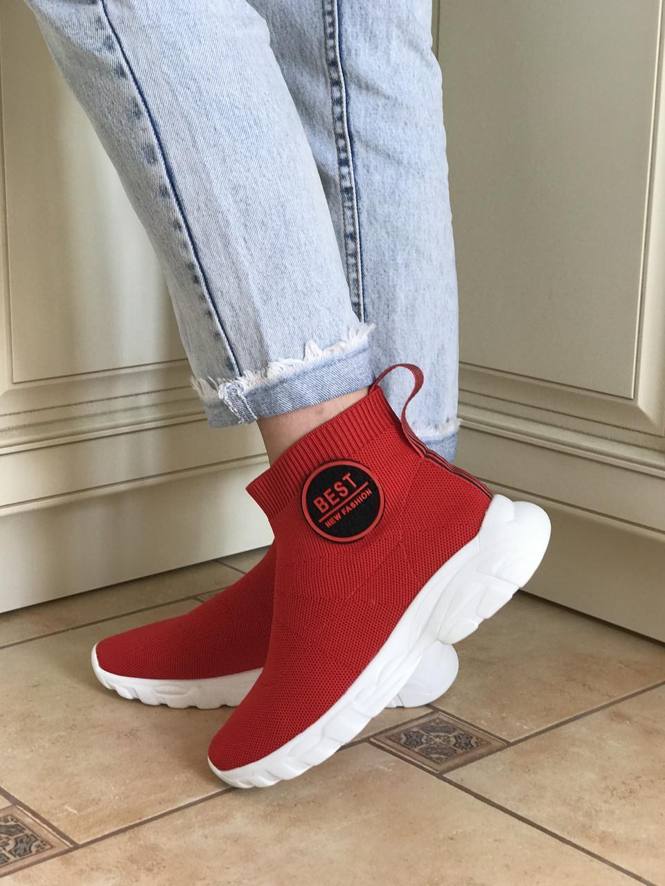 Стильные кроссовки носки женские текстильные красные
