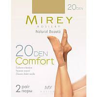 Тонкие классические матовые капроновые носки Mirey Comfort 20den comf20