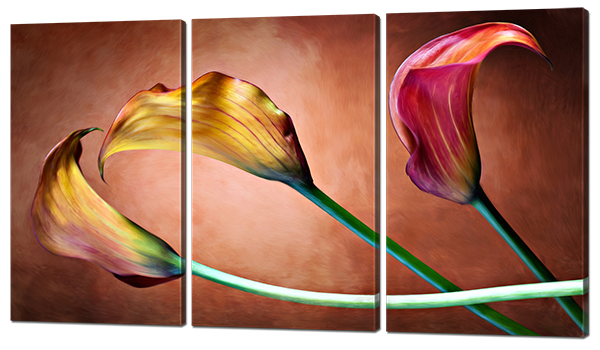 Модульная картина Калы розовые и желтые
