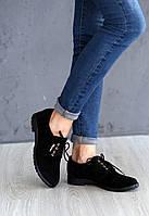 Женские туфли без каблука со шнурком из замши, фото 1