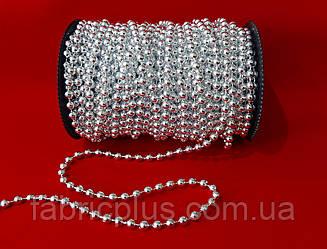 Новогодние  гирлянды-бусы  6 мм серебро