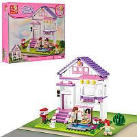 Конструктор SLUBAN M38-B0532 загородный дом, фигурки 3шт, кошка, 291 деталь