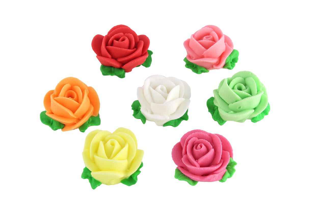 Декор кондитерський Добрик Набір Троянди d-25 з листочками біла 36 шт./ящ.