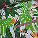 Ткань польская попугаи белые в ярко-зеленых листьях на белом фоне, фото 3