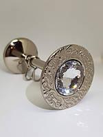 Классический Подхват для штор с крупным камнем REC116 серебро , фото 1
