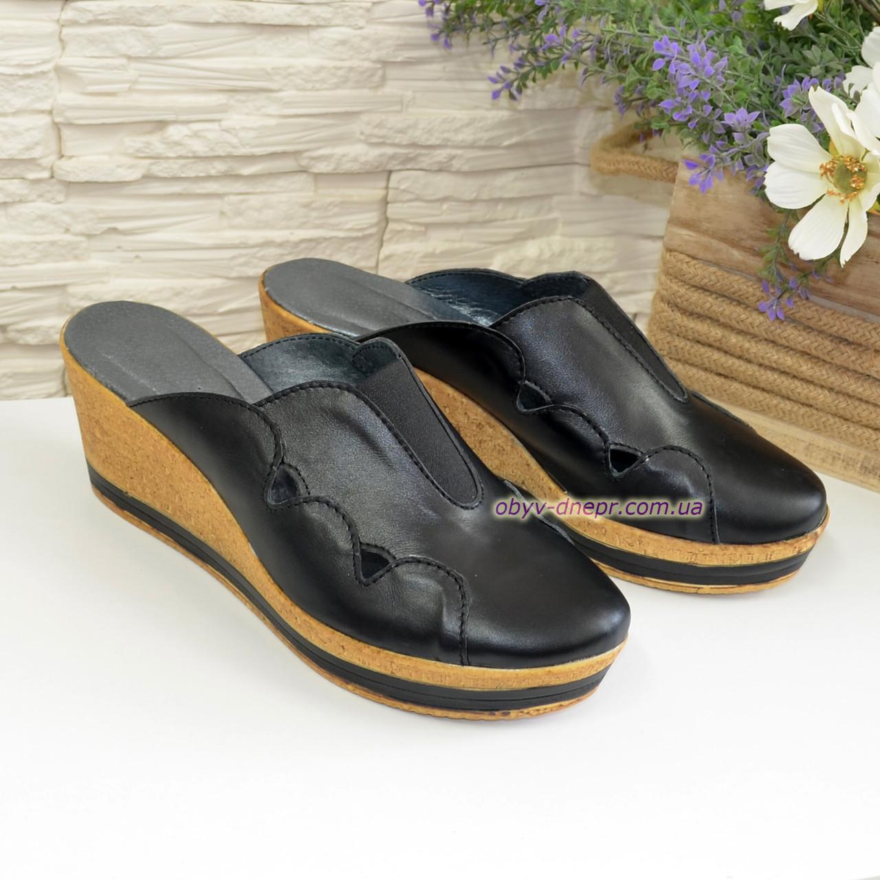 """Сабо женские кожаные черного цвета на платформе от производителя ТМ """"Maestro"""""""