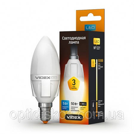 LED лампа VIDEX  C37 5W E14 4100K 220V