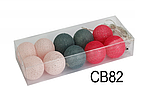 Гирлянды декоративные Cotton Balls 10led, диам 6см, длина 180см на батарейках АА , фото 2