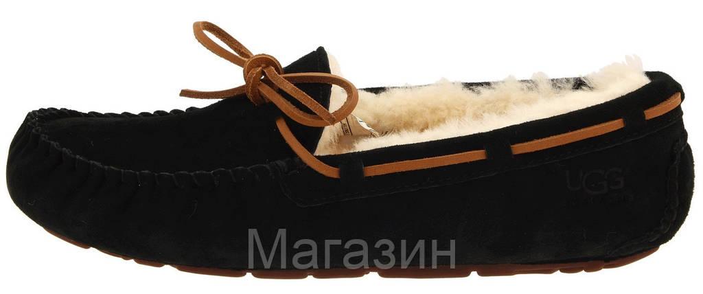 Женские зимние мокасины UGG Australia Dakota Slipper Black оригинальные Угги Австралия с мехом черные