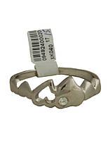 Кольцо женское серебристое  сердечки