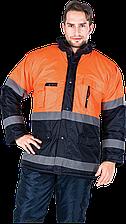 Куртка BLUE-ORANGE GP зимняя со светоотражающими полосками рабочая Reis Польша (спецодежда сигнальная)