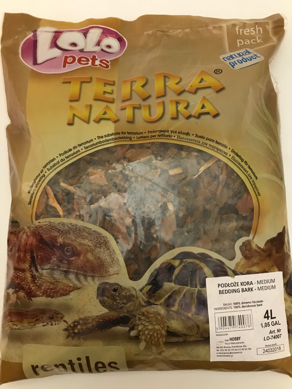 Terra Natura наповнювач лісова кора M для тераріумів 4 л Lolopets Польща