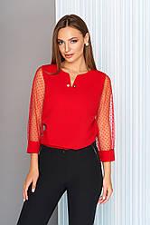 """Нарядная красная блузка с рукавом 3/4 из сетки в горошек """"Немо"""""""